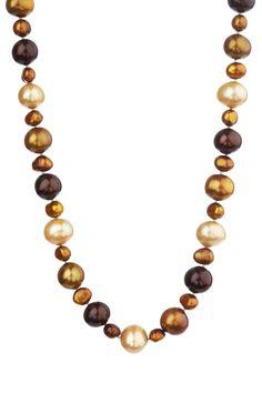 Savvy Cie  Multicolor Chocolate Baroque Cultured Pearl Necklace