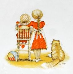 Holly Hobbie Sisters & Big Fluffy Cat Classic 70s Orange & Yellow Love