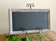Up Cycled Shabby Chic Frame Chalk Board / Black Board / Message Board / Magnet Board/Bulletin Board. $19.99, via Etsy.