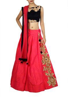 Chaniya Choli : Velvet and Silk Pink Designer Chaniya Chol