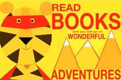 El tigre loves BOOKS  12x18 Art Print by Giraffes and Robots by GIRAFFESandROBOTS on Etsy