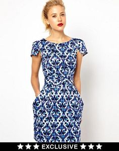 Image 1 of Closet Tie Back Dress with Pockets in Jewel Print