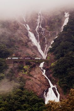 Dudhsagar Falls is a tiered waterfall located on the Mandovi River in the Indian state of Goa on Goa's border with Karnataka state. It is four-tiered. It is 60 km from Panaji city by road and 46 km from Madgaon railway junction by train.