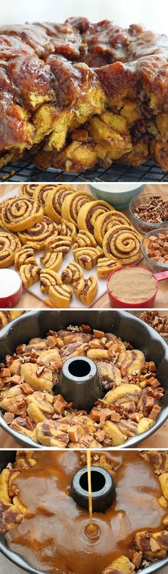Pumpkin-Cinnamon Roll Monkey Bread Recipe ~ Best Idea Ever. Sweet pumpkin dough with swirls of cinnamon baked in butter and brown sugar! Pumpkin Recipes, Fall Recipes, Sweet Recipes, Holiday Recipes, Just Desserts, Delicious Desserts, Dessert Recipes, Yummy Food, Cinnamon Roll Monkey Bread
