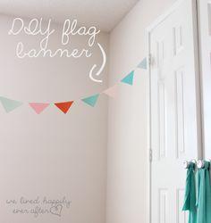 DIY Scrapbook Paper Flag Banner {$55 Little Girl Playroom Project} #under3dollars #diy #love www.welivedhappilyeverafter.com