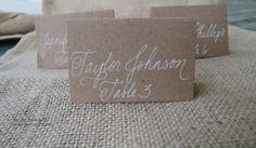 Wedding Name Place Cards, Escort Cards, Shabby Chic Country, Table Cards, Kraft Paper Tented Cards Custom Hand Calligraphy. $1.00, via Etsy.