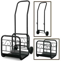 Large Black Wrought Iron Log Rack With Wheel And Removable Cart.  The unique item is a decorative log rack for wood storage by your fireplace or a wood cart. Simply use the wheeled cart to attach in one swift move and the log rack becomes mobile so you can easily transport wood from outdoor wood racks inside to your fireplace. #lograck #cart #logcart