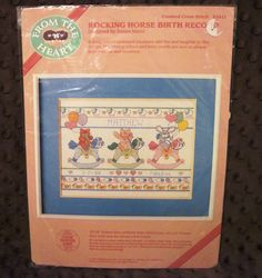 Dimensions Rocking Horse Birth Record Counted Cross Stitch Kit From The Heart