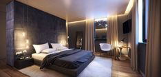 Black and White Bedroom Designs with Wooden Floor