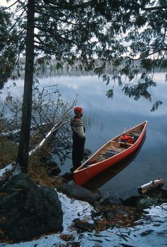 Canoe, lakes, and woods