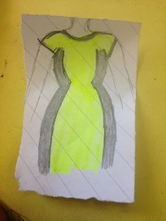 A neon green work dress