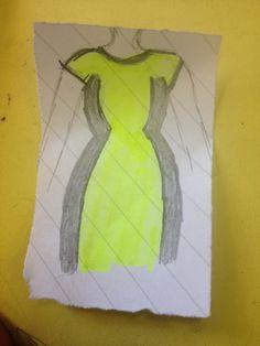 A neon green work dress