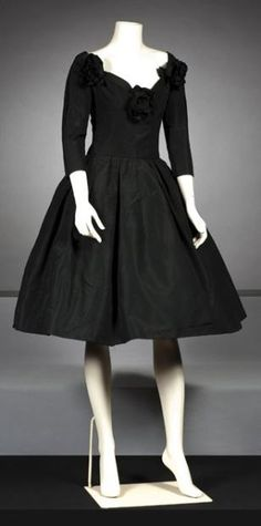 """CHRISTIAN DIOR  Haute couture Fall-Winter 1957 Dress """"Black Rose"""" cocktail"""