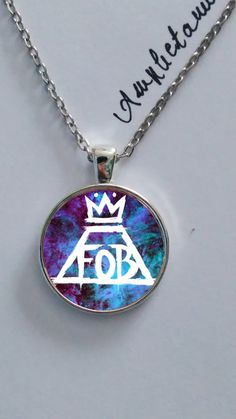 Fall Out Boy logo necklace glass pendant