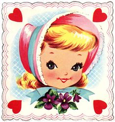 Retro Valentine Image - Darling little Girl - The Graphics Fairy