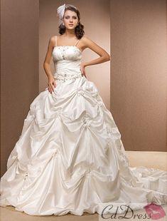 Ball Gown Spaghetti Straps Taffeta Chapel Train Wedding Dress from CDdress.com #CDdress #Weddingdress