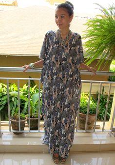 Gray  kaftan maxi dress long caftan beach cover up by SaudadeSun, $32.99