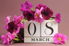 save the date white block calendar for international women's day march 8 decorated with pink and purple flowers against a pink purple background. Women's Day 8 March, 8th Of March, November 2015, Happy Woman Day, Happy Women, International Womens Day March 8, Block Calendar, 8 Mars, Banner