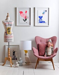 love the bright framed art / styling by Claire Larritt-Evans
