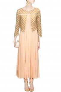 Peach flared anarkali suit with cutdana embroidered jaal jacket