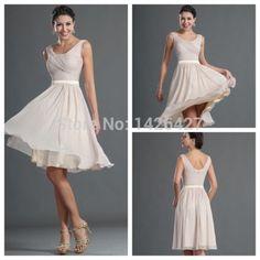 Free Shipping 2014 Bridesmaid dress A-line Chiffon Knee-length vestido de festa Short Bridesmaid Dresses For Wedding parties