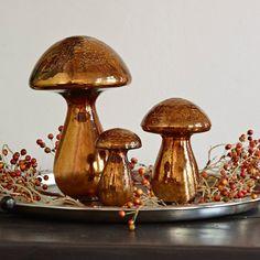 'Deko-Pilze 3er-Set Mushrooms' gesehen auf Loberon.de Vintage Accessoires, Household Items, Old And New, Home Accessories, 3 D, Stuffed Mushrooms, Candle Holders, Candles, Contemporary