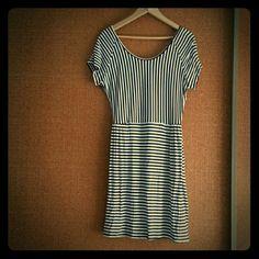 A.N.A Black & White Striped Dress L