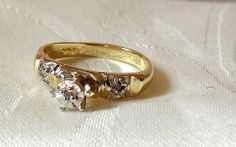 Vintage 14K Diamond Engagement or Promise Ring by EclairJewelry, $95.00