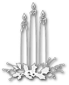"Shining Candles - $16.99 Shining Candles by Memory Box are a gorgeous candle arrangement with holly leaves.       3.9"" x 4.8"""