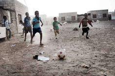 Children play #football on the muddy ground at Kharaz #Refugee Camp. ©UNHCR/J.Zocherman