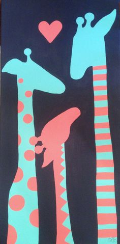 Turquoise and coral giraffes pop against a navy blue background 12 x 24 inches $40 comment below if interested in purchasing or go to my page at www.facebook.com/artandsoulbymelanie