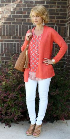 I love a pop of coral with white denim. Today& outfit idea features a couple of favorites from the J. I love a pop of coral with white denim. Todays outfit idea features a couple of favorites from the J. 60 Fashion, Over 50 Womens Fashion, Fashion Over 40, Fashion Ideas, Fashion Women, Style Fashion, Fashion Dresses, Jean Outfits, Casual Outfits