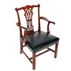 Antique Chippendale design mahogany elbow or arm chair. This late century George III antique elbow chair is available to buy now online. Dining Room Furniture, Furniture Design, Dining Chairs, Antique Chairs, Antique Furniture, Chippendale Chairs, Colonial Furniture, Miniature Crafts, Online Furniture