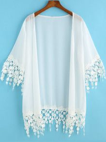 SheIn offers White Half Sleeve Lace Embellished Kimono & more to fit your fashionable needs. White Lace Kimono, Chiffon Kimono, Floral Lace, Mode Outfits, Fashion Outfits, Style Fashion, Cool Vintage, Mode Kimono, Floral Cardigan