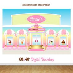 ICE CREAM Shop Storefront Backdrop, Candy Shop Printable Backdrop,Donuts Party Decorations, Ice Cream Birthday Party, Backdrop, Digital File