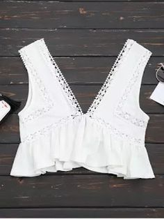 Ruffles Lace Trim Cropped Tank Top - White S Crop Top Shirts, Lace Crop Tops, Cropped Tank Top, Crop Tank, Lace Trim Tank Top, Lacy Tops, Ruffles, Estilo Hip Hop, Trendy Fashion