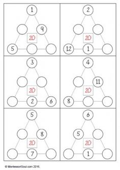 Free Printable; Number triangle problems to 20