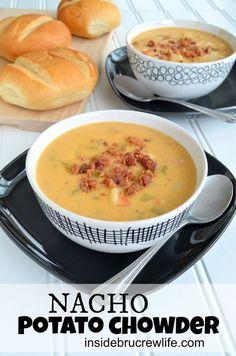 Nacho Potato Chowder - easy potato cheese chowder #soup #sargento @Mary Beth Parker BruCrew Life