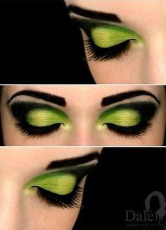Wicked eye make-up Halloween, witch, Oz Costume Halloween, Halloween Face Makeup, Elphaba Costume, Wicked Witch Costume, Witch Costumes, Halloween Eyes, Halloween Party, Pretty Witch Makeup, Witch Eyes