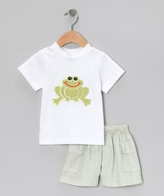 Take a look at this Green Frog Tee & Shorts - Infant & Toddler by Sew Childish on #zulily today!