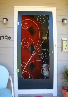 SCREEN DOOR! Crestview Doors - Pictures of modern front doors for mid-century modern houses, 1950's ranch homes, retro ramblers, post-war bungalows and n...