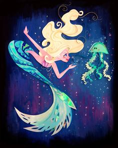 Mermaid Meets Jellyfish Print by ybellasketch on Etsy https://www.etsy.com/listing/465347582/mermaid-meets-jellyfish-print
