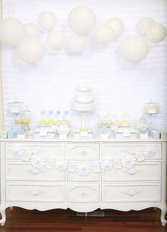 table decor - love the paper lanterns. might do white & sky blue