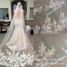 3 M White Ivory Cathedral Length Lace Edge Bride Wedding Bridal Long Veil + Comb Bride Veil, Wedding Dress With Veil, Bridal Wedding Dresses, Bridal Lace, Lace Wedding, Wedding Decor, Wedding Attire, Floral Wedding, Wedding Ideas