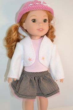 """Precious Pink Petals on a White Fleece Jacket for Your 14 1/2"""" Doll"""