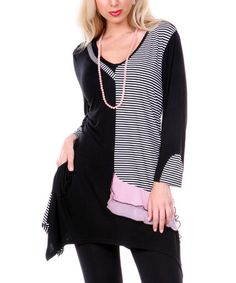 This Black & White Stripe Sidetail V-Neck Tunic by Aster is perfect! #zulilyfinds