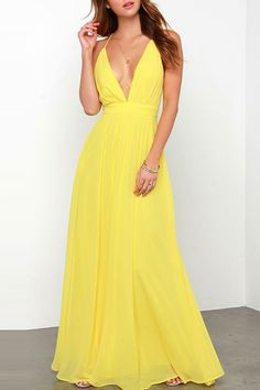 Maxi love. have you been looking for the item like this dress. So bright and elegant. #yellow #dress #maxi #maykool
