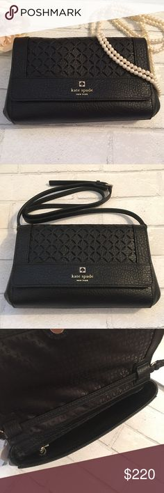 """Kate Spade Black Crossbody Bag with Laser Cutouts Brand New! Kate Spade Black Crossbody Handbag with Laser Cutouts on front Flap. Material: Safiano Pebble Leather 14k Gold Plated Hardware. Size: 12""""W x 7 1/2"""" H x 3""""D. Signature Kate Spade lining with one Zip Pocket and One Open Pocket inside. Crossbody Drop 21""""-23"""" Long. kate spade Bags Crossbody Bags"""