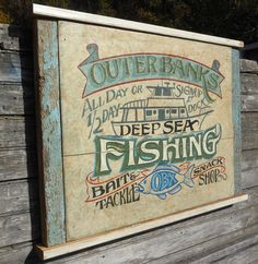 Outer Banks (OBX) Fishing Sign, framed in reclaimed teal trim Hand Lettered Sign. Beach house porch decor, Sea Fishing, Bait & Tackle by ZekesAntiqueSigns on Etsy Fishing Signs, Sea Fishing, Fishing Bait, Bait And Tackle, Bee Art, House With Porch, Old Signs, Hand Painted Signs, Shop Signs
