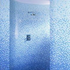 Blue ombre bathroom tiles